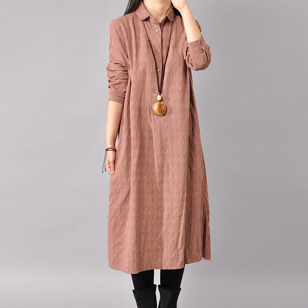 Women Long Sleeve Autumn Shirt Dress