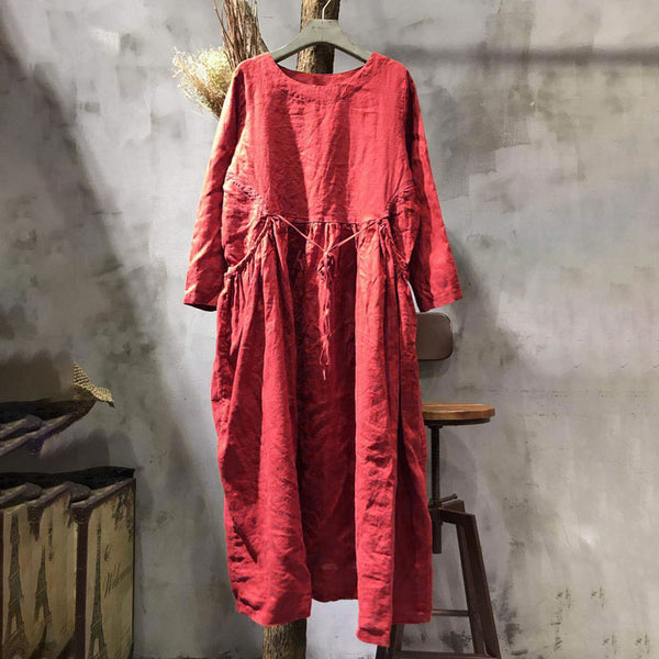 Long Sleeve Round Neck Loose Red Pleated Dress - Buykud