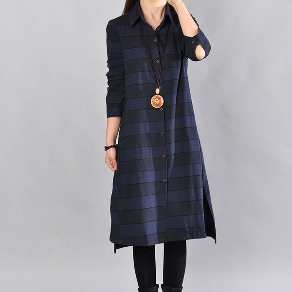 Women Spring Loose Cotton Navy Blue Long Shirt