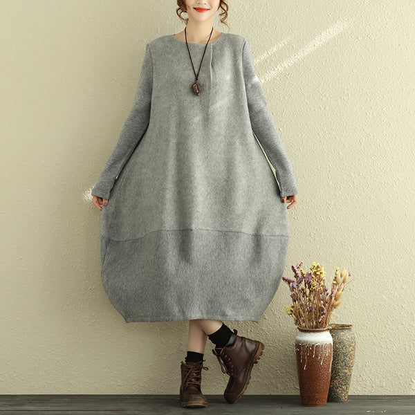 Women Loose Cotton Dress Winter Gray Thick Dresses