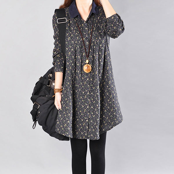 Women Printing Long Sleeves Black Long Shirt