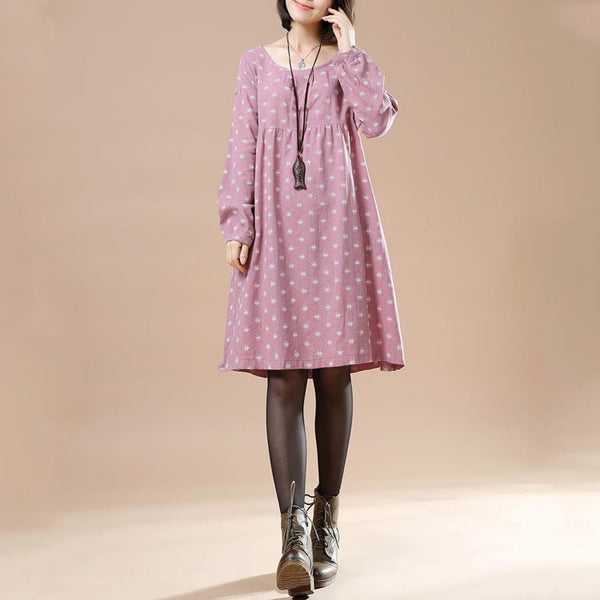 Women's Autumn Large Size Round Neck Long Sleeved A Line Print Casual Pink Dress - Buykud