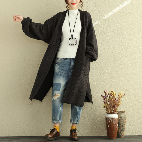Loose Casual Women Long Sleeve Cardigan Wool Coat