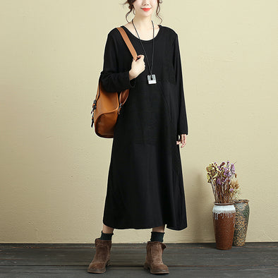 Casual Loose Long Sleeve Autumn Black Dress For Women - Buykud