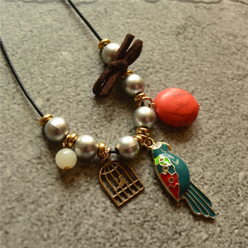 Women Pearl Bird Pendant Necklace