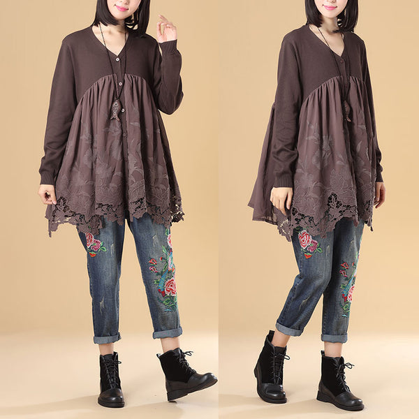 Elegant Women Embroidered Patchwork Long Sleeve Loose Coffee Pleated Sweater Dress - Buykud
