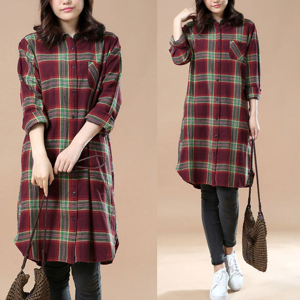 Long Sleeves Casual Loose Lattice Spring Long Shirt