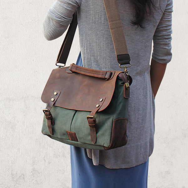 Canvas Leather Briefcase, Handmade Messenger Bag
