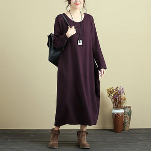 Women Long Sleeve Pockets Dark Red Casual Dress - Buykud