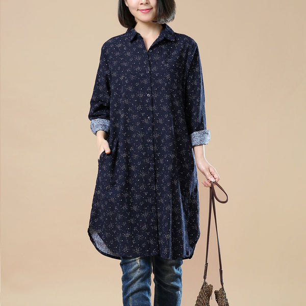 Spring Retro Floral Long Sleeves Navy Blue Shirt
