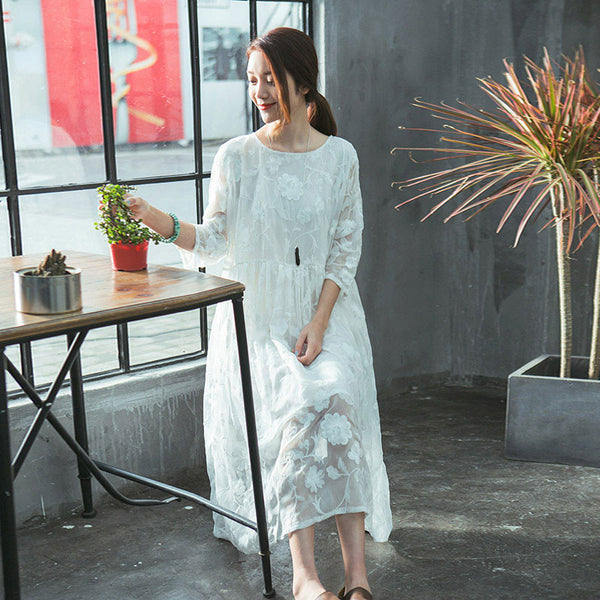 Women Summer False Two Pieces Lace White Dress