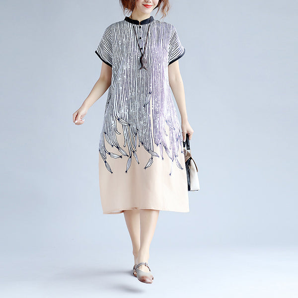 Printing Women Stripe Linen Khaki Dress