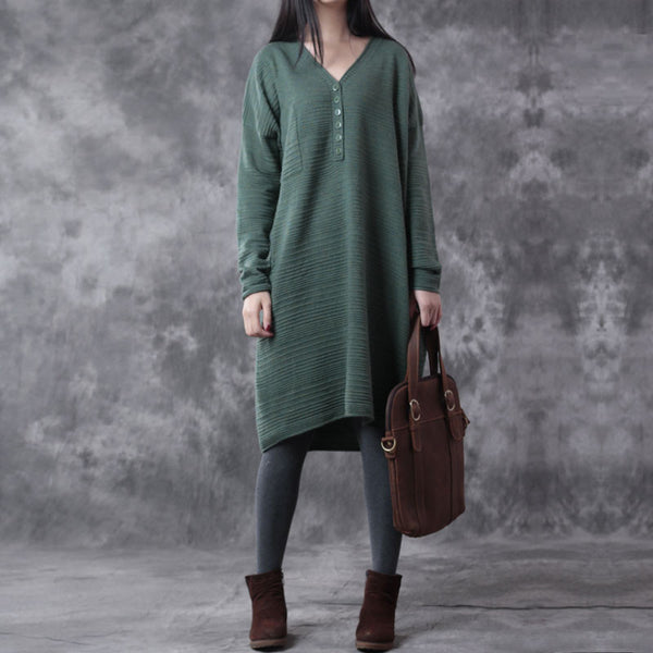 Green Loose V Neck Sweater