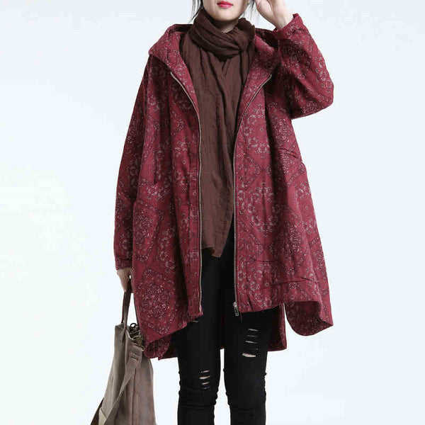 Women cotton linen winter coat