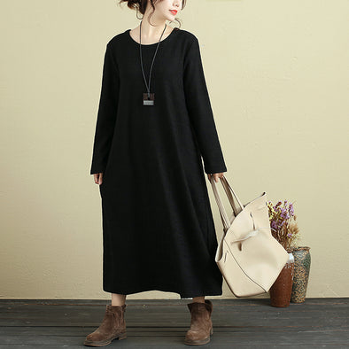 Letter Embroidered Round Neck Long Sleeve Black Dress For Women - Buykud