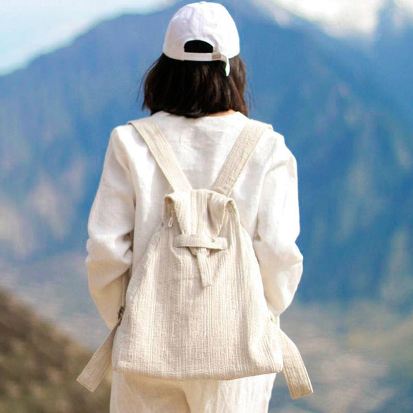 Casual Women Triangle Beige Backpack - Buykud