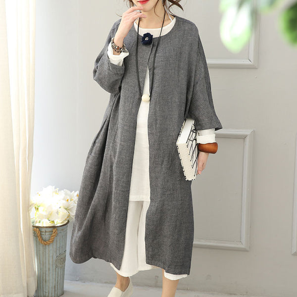 Round Neck Linen Women Windbreaker Coat - Buykud