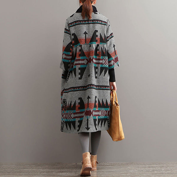 Autumn National Printing Woolen Coat