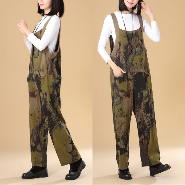 Autumn Women Fashionable Printing Knitted Sweater Jumpsuit - Buykud