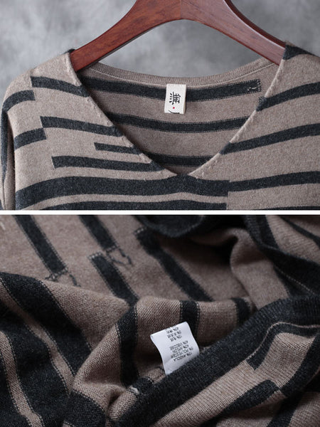 Light Gray Stripes Loose Sweater