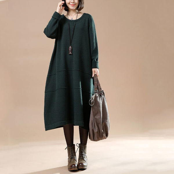 Autumn Round Neck Long Sleeve Sweater Green