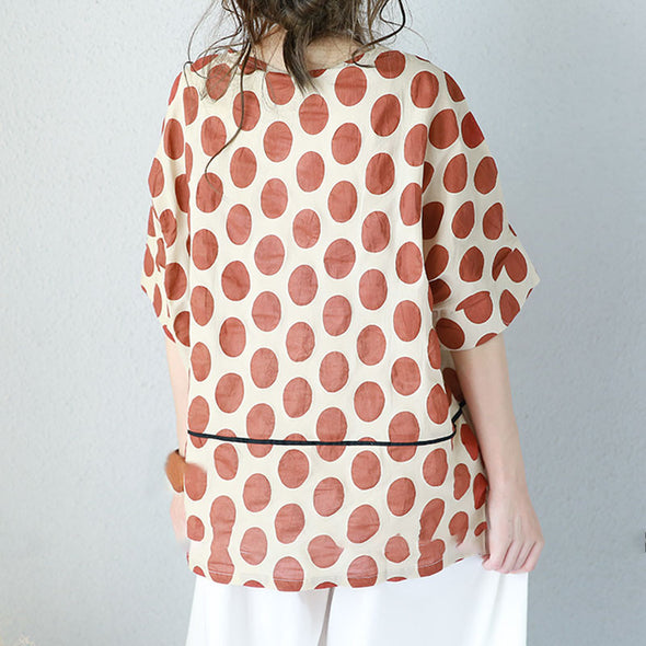 Summer Loose Short Sleeves Women Orange Dot Shirt - Buykud