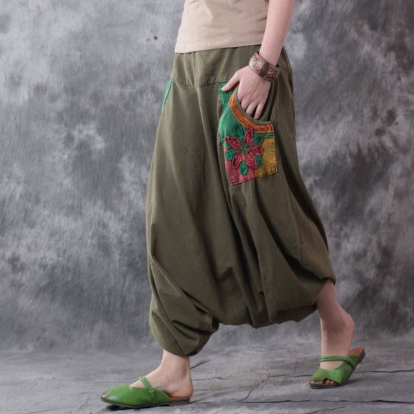 Retro Casual Linen Coffee Harlan Wide Leg Pants