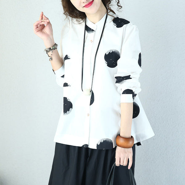 Loose Casual Cotton Dot White Shirt