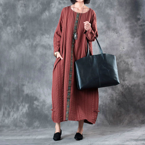 Autumn Loose Round Neck Stripe Long Sleeve Baggy Dress For Women - Buykud