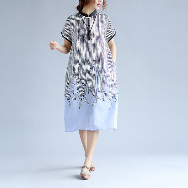 Printing Women Stripe Linen Purple Dress