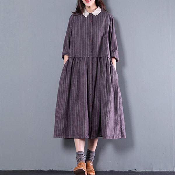 Purple Women Casual Loose Cotton Long Sleeve Dress