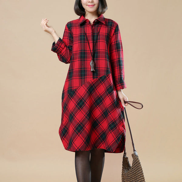 Spring Lattice Splicing Large Size Casual Red Dress