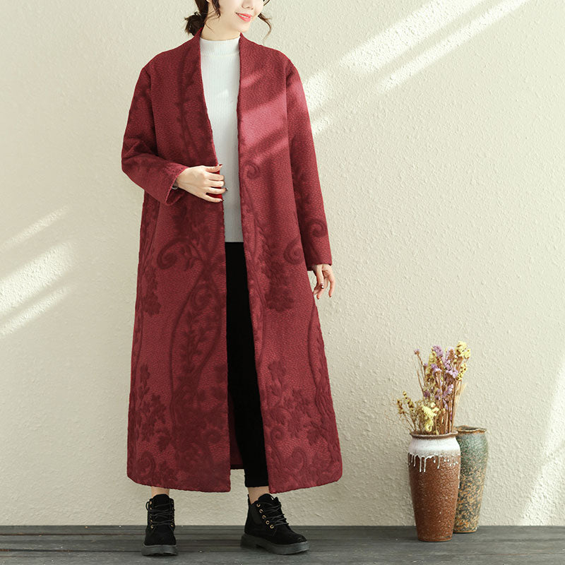Chic Women Winter V Neck Long Sleeve Woolen Coat With Pin - Buykud