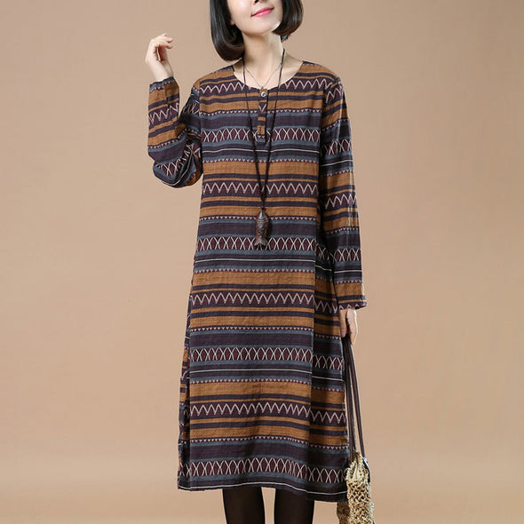 Linen Retro Round Neck Printing Yellow Dress - Buykud