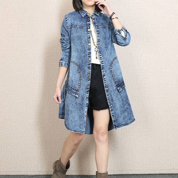 Spring Single Breasted Pocket Distressed Denim Blue Coat