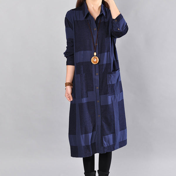 Cotton Loose Pocket Lattice Navy Blue Long Shirt