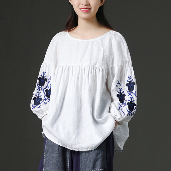 White Linen Women Loose Embroidered Floral Shirt