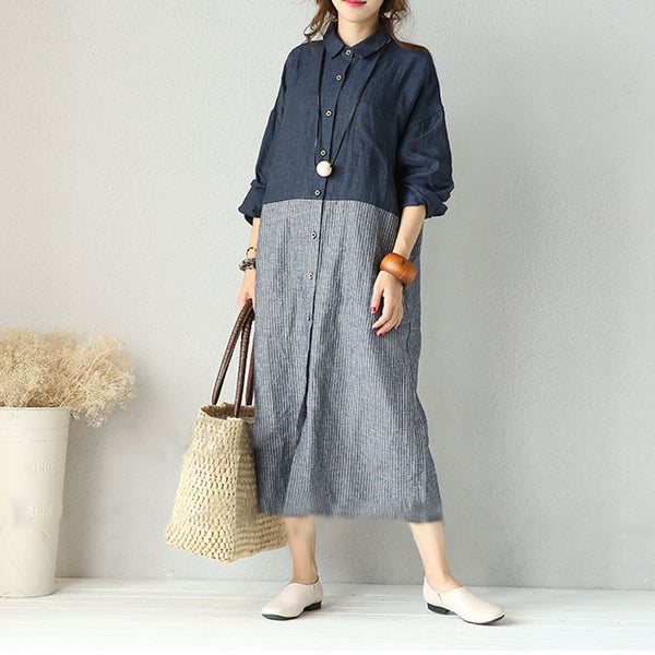 Cotton linen round neck dress