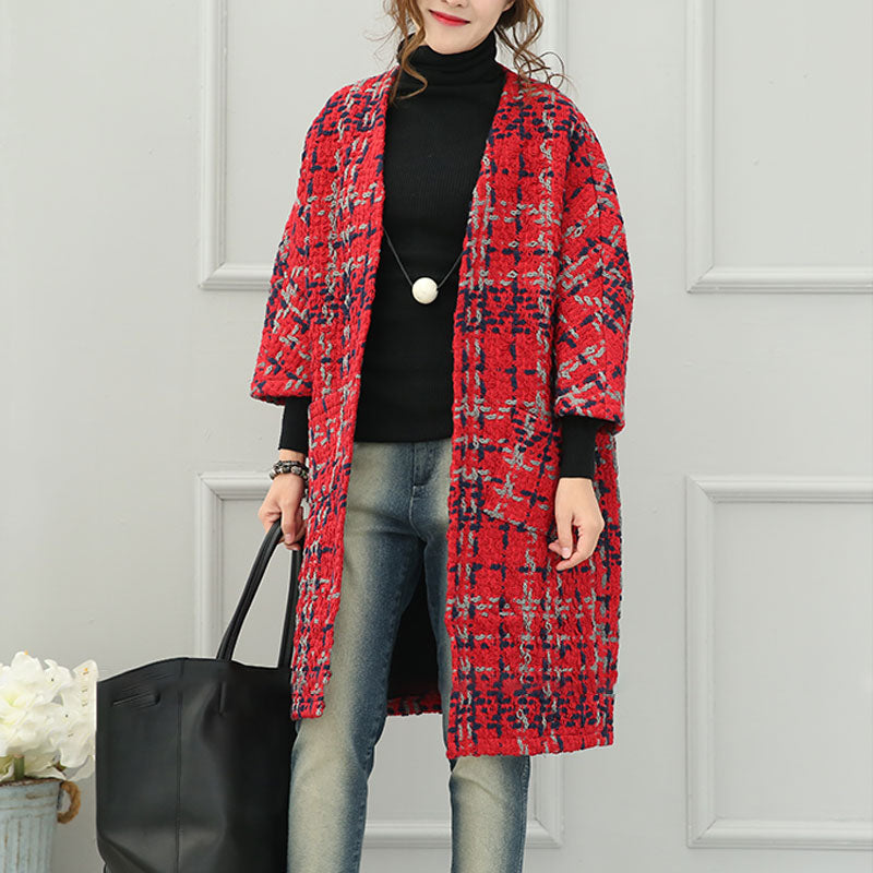 Keep Warm Long Sleeves Cardigan Thick Red Winter Women Coat - Buykud