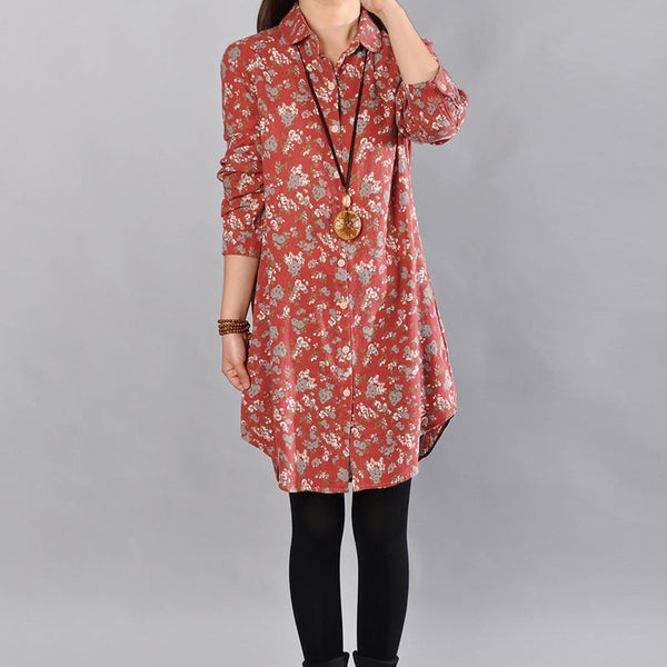 Cotton Floral Cotton Red Shirt