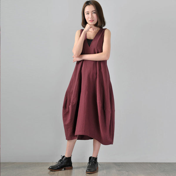 Retro Spring Linen Wine Red Lantern Vest Dress