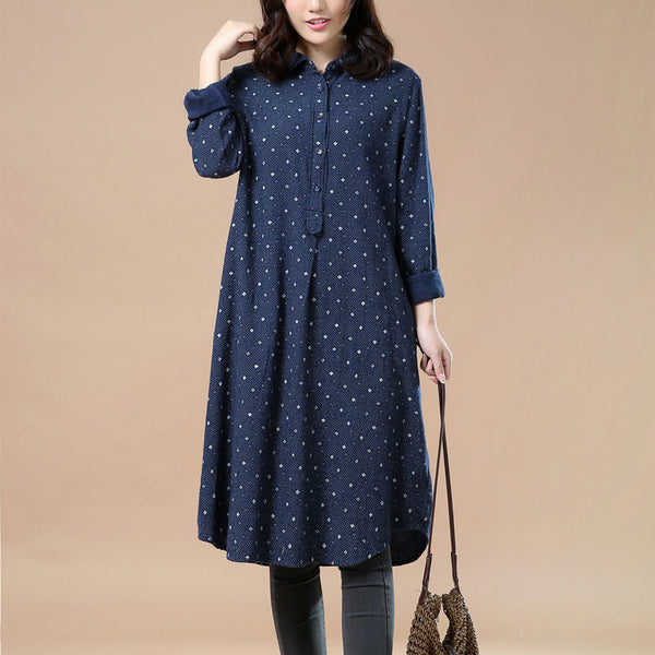 Spring Casual Printing Navy Blue Long Shirt