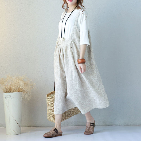 Linen Casual Soft Women Suspender Dress