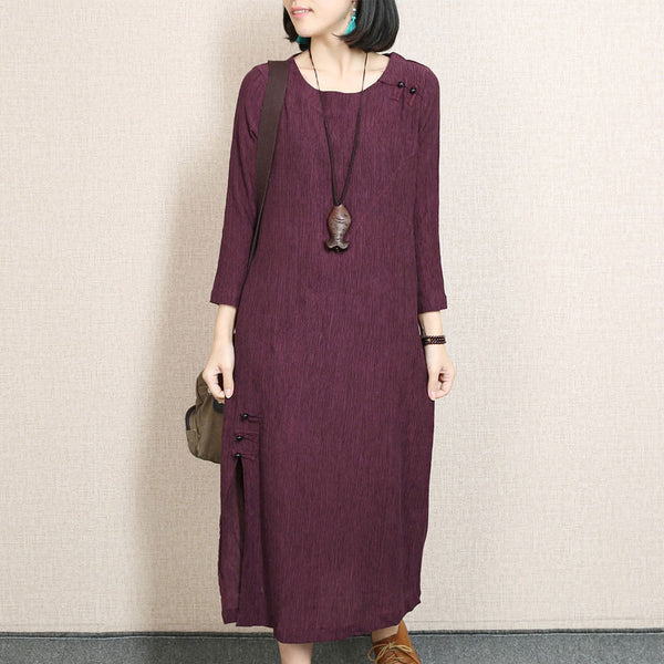 Retro Frog Casual Round Neck Red Dress