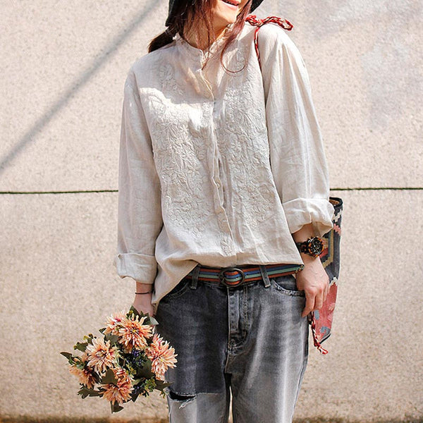Linen Embroidered Stand Collar Shirt - Buykud