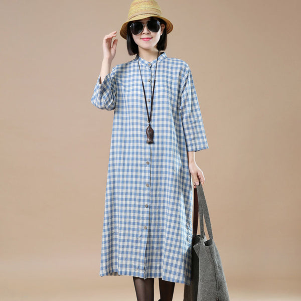 Lattice Loose Linen Cotton Shirts Dress - Buykud