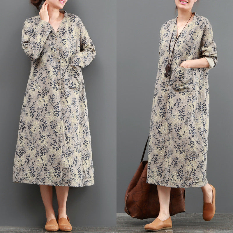 Women Casual Loose Vintage Floral Dress