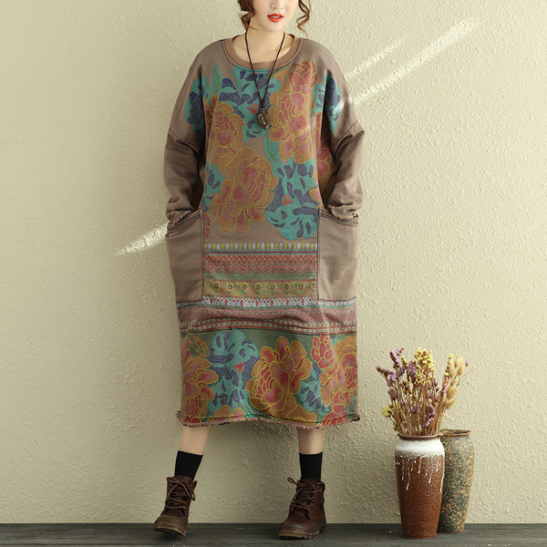 Women Casual Printing Dress Winter Loose Cotton Dresses