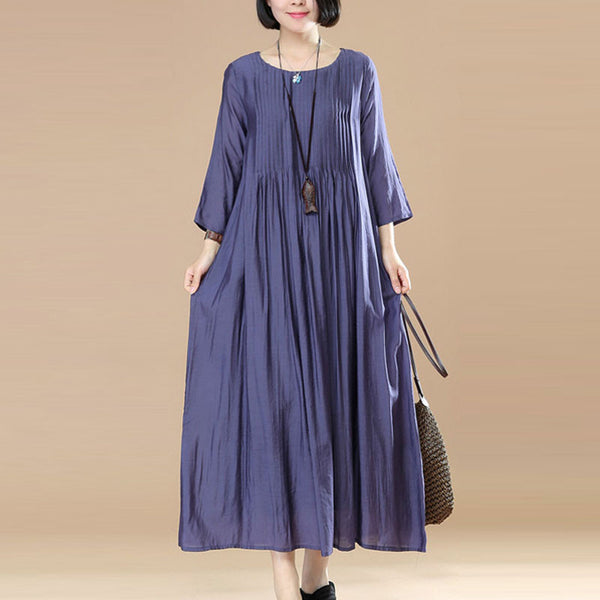Women Loose Casual Cotton Purple Dress