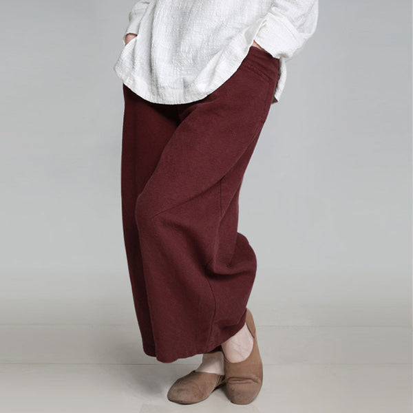 Women Retro Casual Loose Dark Red Pant - Buykud